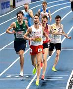 4 March 2021; Paul Robinson of Ireland, left, crosses the line to finish third behind Marcin Lewandowski of Poland and Filip Sasínek of Czech Republic in their heat of the Men's 1500m during the European Indoor Athletics Championships at Arena Torun in Torun, Poland. Photo by Sam Barnes/Sportsfile