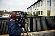 5 March 2021; Media wait outside the IHRB offices at the Curragh Racecourse in Kildare prior to racehorse trainer Gordon Elliott appearing before the Irish Horseracing Regulatory Board's referrals committee. Photo by David Fitzgerald/Sportsfile