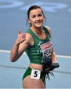 5 March 2021; Phil Healy of Ireland after winning her heat of the Women's 400m during the first session on day one of the European Indoor Athletics Championships at Arena Torun in Torun, Poland. Photo by Sam Barnes/Sportsfile