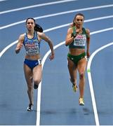 5 March 2021; Sharlene Mawdsley of Ireland, right, and Anastasiya Bryzhina of Ukraine compete in the Women's 400m heats during the first session on day one of the European Indoor Athletics Championships at Arena Torun in Torun, Poland. Photo by Sam Barnes/Sportsfile