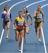 5 March 2021; Sharlene Mawdsley of Ireland, right, Anastasiya Bryzhina of Ukraine and Iríni Vasilíou of Greece trail Agne Šerkšniene of Lithuania in the Women's 400m heats during the first session on day one of the European Indoor Athletics Championships at Arena Torun in Torun, Poland. Photo by Sam Barnes/Sportsfile