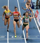5 March 2021; Phil Healy of Ireland wins her heat of the Women's 400m from Léa Springer of Switzerland and Modesta Morauskaite of Lithuania during the first session on day one of the European Indoor Athletics Championships at Arena Torun in Torun, Poland. Photo by Sam Barnes/Sportsfile