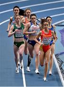5 March 2021; Siofra Cleirigh Buttner of Ireland, left, competes in the Women's 800m heats during the first session on day one of the European Indoor Athletics Championships at Arena Torun in Torun, Poland. Photo by Sam Barnes/Sportsfile