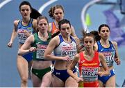 5 March 2021; Siofra Cleirigh Buttner of Ireland, 2nd from left, alongside Isabelle Boffey of Great Britain and Daniela Garcia of Spain in the Women's 800m heats during the first session on day one of the European Indoor Athletics Championships at Arena Torun in Torun, Poland. Photo by Sam Barnes/Sportsfile