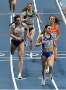 5 March 2021; Siofra Cleirigh Buttner of Ireland crosses the line to finish fourth behind Isabelle Boffey of Great Britain Daniela Garcia of Spain and Elena Bellò of Italy in the Women's 800m heats during the first session on day one of the European Indoor Athletics Championships at Arena Torun in Torun, Poland. Photo by Sam Barnes/Sportsfile