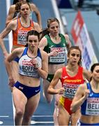 5 March 2021; Siofra Cleirigh Buttner of Ireland trails Isabelle Boffey of Great Britain, Daniela Garcia of Spain and Elena Bellò of Italy in the Women's 800m heats during the first session on day one of the European Indoor Athletics Championships at Arena Torun in Torun, Poland. Photo by Sam Barnes/Sportsfile