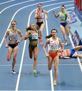 5 March 2021; Nadia Power of Ireland on her way to finishing second ahead of Tanja Spill of Germany, left, and Anna Wielgosz of Poland in the Women's 800m heats during the first session on day one of the European Indoor Athletics Championships at Arena Torun in Torun, Poland. Photo by Sam Barnes/Sportsfile