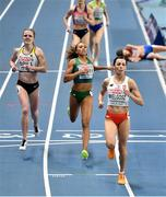 5 March 2021; Nadia Power of Ireland, centre, crosses the line in second ahead of Tanja Spill of Germany, left, and Anna Wielgosz of Poland in the Women's 800m heats during the first session on day one of the European Indoor Athletics Championships at Arena Torun in Torun, Poland. Photo by Sam Barnes/Sportsfile