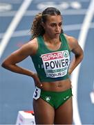 5 March 2021; Nadia Power of Ireland is introduced prior to her heat of the Women's 800m during the first session on day one of the European Indoor Athletics Championships at Arena Torun in Torun, Poland. Photo by Sam Barnes/Sportsfile