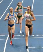 5 March 2021; Georgie Hartigan of Ireland finishes fourth in her heat of the Women's 800m behind Sara Kuivisto of Finland and Christina Hering of Germany during the first session on day one of the European Indoor Athletics Championships at Arena Torun in Torun, Poland. Photo by Sam Barnes/Sportsfile