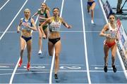 5 March 2021; Georgie Hartigan of Ireland finishes fourth in her heat of the Women's 800m behind Sara Kuivisto of Finland Christina Hering of Germany and Angelika Cichocka of Poland during the first session on day one of the European Indoor Athletics Championships at Arena Torun in Torun, Poland. Photo by Sam Barnes/Sportsfile