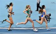 5 March 2021; Christina Hering of Germany, left, Georgie Hartigan of Ireland and Konstadína Yiannopoúlou of Greece compete in their heat of the Women's 800m during the first session on day one of the European Indoor Athletics Championships at Arena Torun in Torun, Poland. Photo by Sam Barnes/Sportsfile