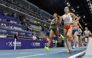 5 March 2021; Nadia Power of Ireland and Anna Wielgosz of Poland lead the field in the Women's 800m heats during the first session on day one of the European Indoor Athletics Championships at Arena Torun in Torun, Poland. Photo by Sam Barnes/Sportsfile