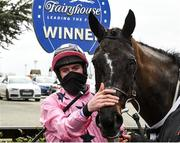 5 March 2021; Jockey Jack Kennedy with Daphne Moon after winning the Fairyhouse Easter Gift Box Mares Maiden Hurdle Division 1 during Point-to-Point racing at Fairyhouse Racecourse in Ratoath, Meath. Photo by Matt Browne/Sportsfile
