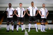 5 March 2021; Dundalk players, from left, Junior, Raivis Jurkovskis, Sonni Nattestad and Michael Duffy at the launch of the Dundalk home kit for the 2021 season at Oriel Park in Dundalk, Louth. Photo by Stephen McCarthy/Sportsfile