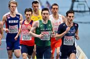 5 March 2021; Mark English of Ireland, centre, and Pierre-Ambroise Bosse of France compete in the Men's 800m qualifying round during the second session on day one of the European Indoor Athletics Championships at Arena Torun in Torun, Poland. Photo by Sam Barnes/Sportsfile