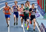 5 March 2021; Mark English of Ireland, centre, and Pierre-Ambroise Bosse of France lead the field in the Men's 800m qualifying round during the second session on day one of the European Indoor Athletics Championships at Arena Torun in Torun, Poland. Photo by Sam Barnes/Sportsfile