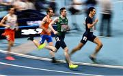 5 March 2021; Mark English of Ireland, centre, competes with Thijmen Kupers of Netherlands Pierre-Ambroise Bosse of France in the Men's 800m qualifying round during the second session on day one of the European Indoor Athletics Championships at Arena Torun in Torun, Poland. Photo by Sam Barnes/Sportsfile