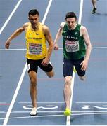 5 March 2021; Mark English of Ireland beats Abedin Mujezinovic Bosnia-Herzegovina to finish third and qualify for the semi-final of the Men's 800m during the second session on day one of the European Indoor Athletics Championships at Arena Torun in Torun, Poland. Photo by Sam Barnes/Sportsfile