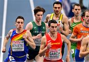 5 March 2021; Cian McPhillips of Ireland, second from left, during his heat of the 800m during the second session on day one of the European Indoor Athletics Championships at Arena Torun in Torun, Poland. Photo by Sam Barnes/Sportsfile