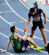 5 March 2021; Mark English of Ireland and Pierre-Ambroise Bosse of France after their heat of the Men's 800m during the second session on day one of the European Indoor Athletics Championships at Arena Torun in Torun, Poland. Photo by Sam Barnes/Sportsfile