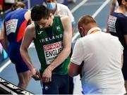 5 March 2021; Mark English of Ireland changes his lane number prior to his heat of the Men's 800m during the second session on day one of the European Indoor Athletics Championships at Arena Torun in Torun, Poland. Photo by Sam Barnes/Sportsfile