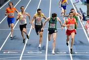 5 March 2021; Cian McPhillips of Ireland and Mariano Garcia of Spain cross the line in their heat of the 800m during the second session on day one of the European Indoor Athletics Championships at Arena Torun in Torun, Poland. Photo by Sam Barnes/Sportsfile