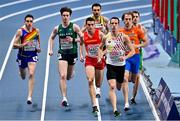 5 March 2021; Pol Moya Betriu of Andorra, Cian McPhillips of Ireland, Mariano Garcia of Spain and Aurele Vandeputte of Belgium during the 800m qualifying round during the second session on day one of the European Indoor Athletics Championships at Arena Torun in Torun, Poland. Photo by Sam Barnes/Sportsfile