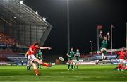 5 March 2021; Ben Healy of Munster clears under pressure from Gavin Thornbury of Connacht during the Guinness PRO14 match between Munster and Connacht at Thomond Park in Limerick. Photo by Ramsey Cardy/Sportsfile