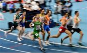 5 March 2021; Cian McPhillips of Ireland, left, trails the field before finishing second during his heat of the 800m during the second session on day one of the European Indoor Athletics Championships at Arena Torun in Torun, Poland. Photo by Sam Barnes/Sportsfile
