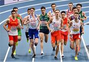 5 March 2021; Andrew Coscoran of Ireland, centre, competes in the Men's 1500m final during the second session on day one of the European Indoor Athletics Championships at Arena Torun in Torun, Poland. Photo by Sam Barnes/Sportsfile