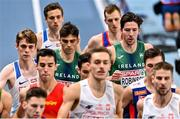 5 March 2021; Andrew Coscoran and Paul Robinson of Ireland competing in the Men's 1500m final during the second session on day one of the European Indoor Athletics Championships at Arena Torun in Torun, Poland. Photo by Sam Barnes/Sportsfile