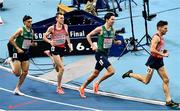 5 March 2021; Andrew Coscoran, left, and Paul Robinson of Ireland competing with Filip Sasínek, second from left, and Jan Friš of Czech Republic in the Men's 1500m final during the second session on day one of the European Indoor Athletics Championships at Arena Torun in Torun, Poland. Photo by Sam Barnes/Sportsfile