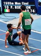 5 March 2021; Paul Robinson, left, and Andrew Coscoran of Ireland after the Men's 1500m final during the second session on day one of the European Indoor Athletics Championships at Arena Torun in Torun, Poland. Photo by Sam Barnes/Sportsfile