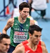 5 March 2021; Paul Robinson of Ireland competes in the Men's 1500m final during the second session on day one of the European Indoor Athletics Championships at Arena Torun in Torun, Poland. Photo by Sam Barnes/Sportsfile