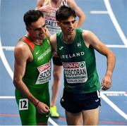 5 March 2021; István Szögi of Hungary, left, and Andrew Coscoran of Ireland after the Men's 1500m final during the second session on day one of the European Indoor Athletics Championships at Arena Torun in Torun, Poland. Photo by Sam Barnes/Sportsfile
