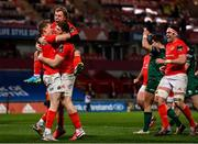 5 March 2021; Mike Haley, left, celebrates with Munster team-mates Craig Casey, Jack O'Donoghue and Billy Holland after scoring his side's second try during the Guinness PRO14 match between Munster and Connacht at Thomond Park in Limerick. Photo by Ramsey Cardy/Sportsfile