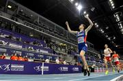 5 March 2021; Jakob Ingebrigtsen of Norway, later disqualified and subsequently reinstated on appeal, celebrates winning the Men's 1500m final during the second session on day one of the European Indoor Athletics Championships at Arena Torun in Torun, Poland. Photo by Sam Barnes/Sportsfile