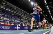 5 March 2021; Jakob Ingebrigtsen of Norway, later disqualified and subsequently reinstated on appeal, leads Marcin Lewandowski of Poland on his way to winning the Men's 1500m final during the second session on day one of the European Indoor Athletics Championships at Arena Torun in Torun, Poland. Photo by Sam Barnes/Sportsfile