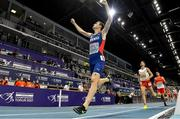 5 March 2021; Jakob Ingebrigtsen of Norway, later disqualified and subsequently reinstated on appeal, celebrates winning the Men's 1500m final from Marcin Lewandowski of Poland during the second session on day one of the European Indoor Athletics Championships at Arena Torun in Torun, Poland. Photo by Sam Barnes/Sportsfile