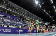 5 March 2021; Phil Healy of Ireland wins her semi-final of the Women's 400m from Andrea Miklos of Romania, left, and Amarachi Pipi of Great Britain during the second session on day one of the European Indoor Athletics Championships at Arena Torun in Torun, Poland. Photo by Sam Barnes/Sportsfile