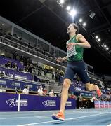 5 March 2021; Paul Robinson of Ireland crosses the line in the Men's 1500m final during the second session on day one of the European Indoor Athletics Championships at Arena Torun in Torun, Poland. Photo by Sam Barnes/Sportsfile
