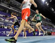 5 March 2021; Marc Reuther of Germany, and John Fitzsimons of Ireland cross the finish line behind Adam Kszczot of Poland in their heat of the Men's 800m during the second session on day one of the European Indoor Athletics Championships at Arena Torun in Torun, Poland. Photo by Sam Barnes/Sportsfile