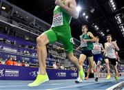 5 March 2021; Andrew Coscoran of Ireland, sedond from left, trails István Szögi of Hungary during the Men's 1500m final during the second session on day one of the European Indoor Athletics Championships at Arena Torun in Torun, Poland. Photo by Sam Barnes/Sportsfile