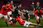 5 March 2021; Caolin Blade of Connacht is tackled by Damien de Allende of Munster during the Guinness PRO14 match between Munster and Connacht at Thomond Park in Limerick. Photo by David Fitzgerald/Sportsfile