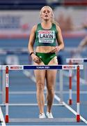 6 March 2021; Sarah Lavin of Ireland prior to her heat of the Women's 60m Hurdles during the first session on day two of the European Indoor Athletics Championships at Arena Torun in Torun, Poland. Photo by Sam Barnes/Sportsfile