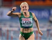 6 March 2021; Sarah Lavin of Ireland crosses the line on the way to finishing third and setting a personal best in her heat of the Women's 60m Hurdles during the first session on day two of the European Indoor Athletics Championships at Arena Torun in Torun, Poland. Photo by Sam Barnes/Sportsfile