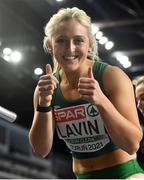 6 March 2021; Sarah Lavin of Ireland after setting a personal best in her heat of the Women's 60m Hurdles during the first session on day two of the European Indoor Athletics Championships at Arena Torun in Torun, Poland. Photo by Sam Barnes/Sportsfile
