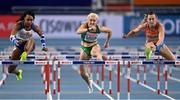 6 March 2021; Cynthia Sember of Great Britain, Sarah Lavin of Ireland and Nadine Visser of Netherlands compete in the Women's 60m Hurdles heats during the first session on day two of the European Indoor Athletics Championships at Arena Torun in Torun, Poland. Photo by Sam Barnes/Sportsfile