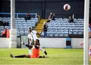 6 March 2021; Val Adedokun of Dundalk scores his side's second goal past Drogheda United goalkeeper David Odumosu during the Jim Malone Cup match between Drogheda United and Dundalk at Head In The Game Park in Drogheda, Louth. Photo by Stephen McCarthy/Sportsfile